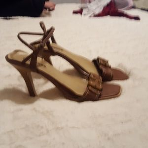 Dollhouse Brown and tan open toe Boho high heels